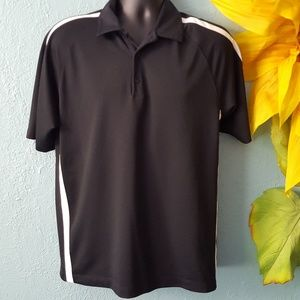 Nike golf drifit black polo with white stripes M.
